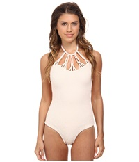 Tori Praver Magnolia Smocked Mutli Hoop Full Piece Seashell Women's Swimsuits One Piece White