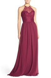 Women's Hayley Paige Occasions Lace And Chiffon Halter Gown