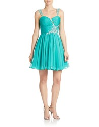M By Mac Duggal Sequined Fit And Flare Dress Teal