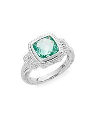 Judith Ripka La Petite Paraiba Spinel White Sapphire And Sterling Silver Ring Silver Green