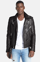 Blk Dnm 'Leather Jacket 5' Leather Moto Jacket Black
