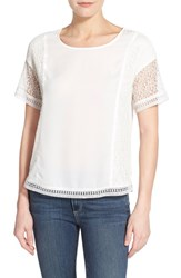 Women's Gibson Lace Inset Short Sleeve Top