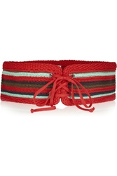 M Missoni Woven Cotton Blend Belt Red
