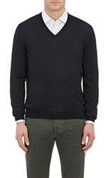 Barneys New York Men's Wool V Neck Sweater Black