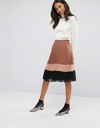 Miss Selfridge Colour Block Pleated Chiffon Skirt Multi