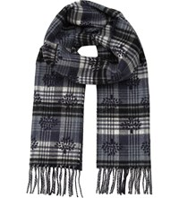 Mulberry Jaquard Logo Cashmere And Wool Blend Scarf Midnight Blue