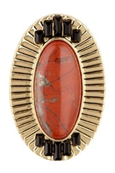 House Of Harlow Red Jasper Electric Charge Cocktail Ring Size 7 Metallic
