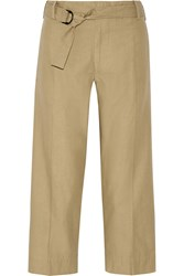 Isabel Marant Onos Cotton And Linen Blend Wide Leg Pants Nude