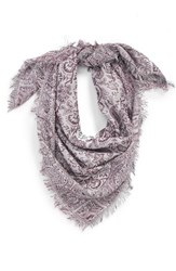 Junior Women's David And Young 'The Perfectly Adjusted' Metallic Paisley Jacquard Scarf Purple