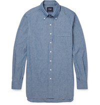Drakes Drake's Button Down Collar Cotton Chambray Shirt Blue