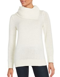 Lord And Taylor Split Neck Knit Top Ivory