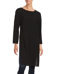 Eileen Fisher Petite Silk Boatneck Tunic Black