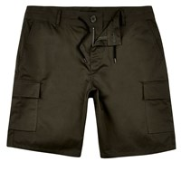 River Island Mens Khaki Drawstring Slim Fit Bermuda Shorts