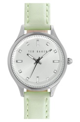 Ted Baker 'Dress Sport' Leather Strap Watch 32Mm Mint Green Silver