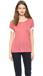 Vince Rolled Sleeve Colorblock Tee Rosewood New Buff