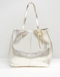 Asos Structured Metallic Shopper Bag Gold