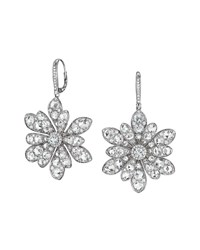 18K White Gold Round And Rose Cut Diamond Flower Drop Earrings Maria Canale For Forevermark White Gold