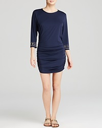 Michael Michael Kors Boho Solid Ruched Swim Cover Up Tunic Navy