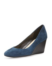 Taryn Rose Kathleen Suede Wedge Pump Navy Suede