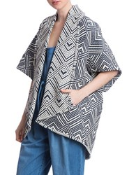 Plenty By Tracy Reese Shawl Collar Open Front Coat Chambray