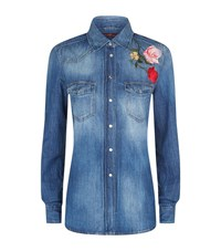 7 For All Mankind Flower Embroidered Denim Shirt Female Blue