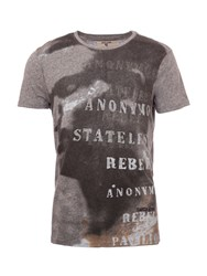Garcia Printed Cotton T Shirt Grey