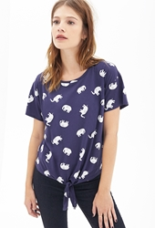 Forever 21 Knotted Elephant Print Tee