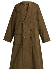 Yohji Yamamoto Double Breasted Cotton Trench Coat Khaki