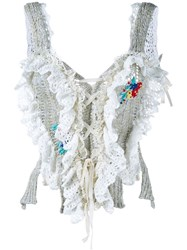 Philosophy Di Lorenzo Serafini Crocheted Corset Top With Floral Embroidery White