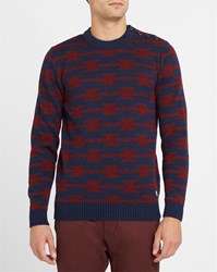 Armor Lux Navy And Burgundy Geometric Woollen Sweater Blue