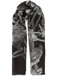 Lost And Found Skeleton Print Scarf Black