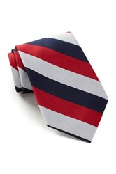 Alara Silk Americana Stripes Tie Red