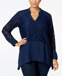 Ny Collection Plus Size Lace Inset Blouse Navy Empress