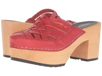 Swedish Hasbeens Camilla Red Women's Clog Shoes