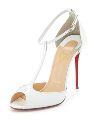 Christian Louboutin Senora Patent 100Mm Red Sole T Strap Sandal White Women's Size 35.5B 5.5B