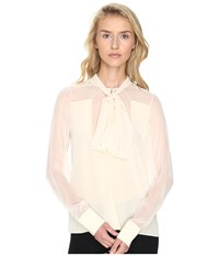 Prabal Gurung Long Sleeve Tie Neck Blouse Ivory Women's Blouse White