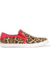 Just Cavalli Leopard Print Leather Sneakers Animal Print