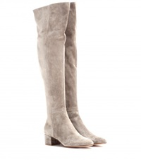 Gianvito Rossi Suede Over The Knee Boots Beige