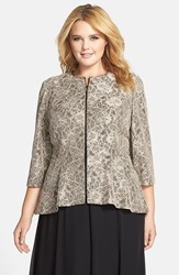 Alex Evenings High Low Hem Metallic Lace Zip Front Jacket Plus Size Champagne Black