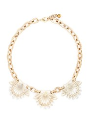 Lulu Frost 'Alesia' Freshwater Pearl Floral Chain Necklace Metallic