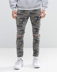 Asos Super Skinny Jeans With Knee Rips In Camo Khaki Green