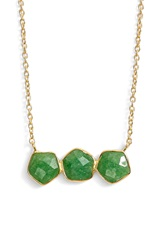 Argentovivo Argento Vivo Three Stone Frontal Necklace Gold Green Aventurine