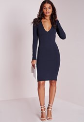 Missguided Ponte Long Sleeve Plunge Midi Dress Navy Blue