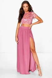 Keira Lace Crop Bralet And Maxi Skirt Co Ord
