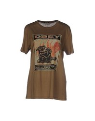 Obey Topwear T Shirts Women Military Green