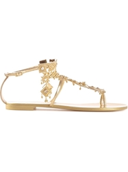 Giuseppe Zanotti Design Diamond Dangling Sandals Metallic