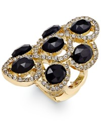 Inc International Concepts Gold Tone Black Stone Pave Stretch Ring Only At Macy's