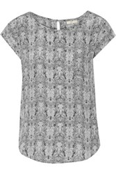 Joie Rancher Printed Silk Top Gray