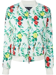 Armani Jeans Flower Print Quilted Bomber Jacket White