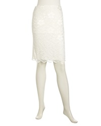 Velvet By Graham And Spencer Lace Front Ponte Pencil Skirt Ivory